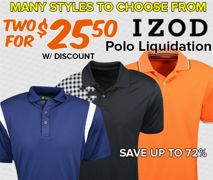 Izod Polo Liquidation Sale - 2 For $30!